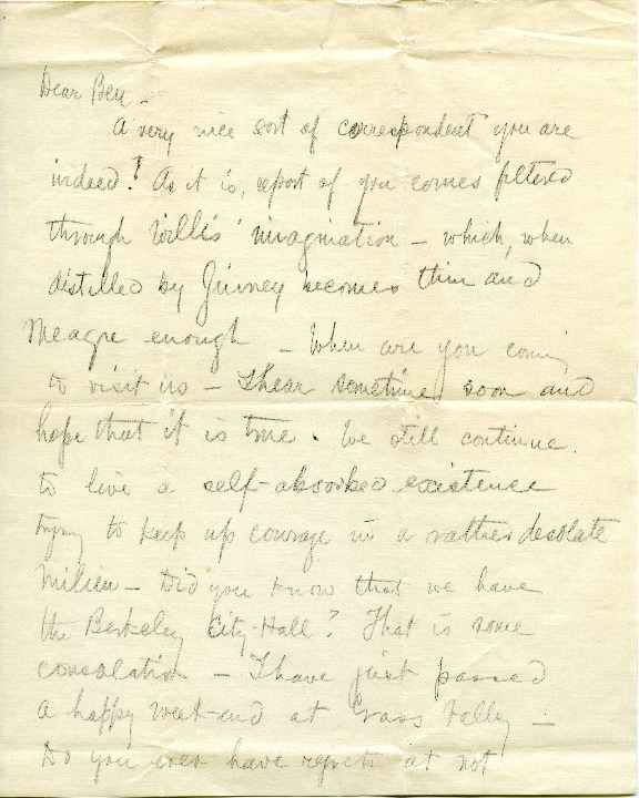 Arthur Brown Jr. to Edward H. Bennett Correspondence, 1909-07-29