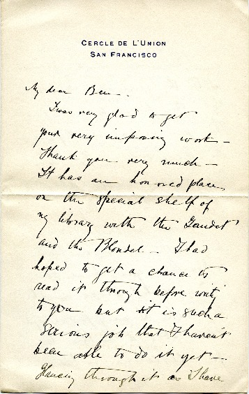 Arthur Brown Jr. to Edward H. Bennett Correspondence, Undated