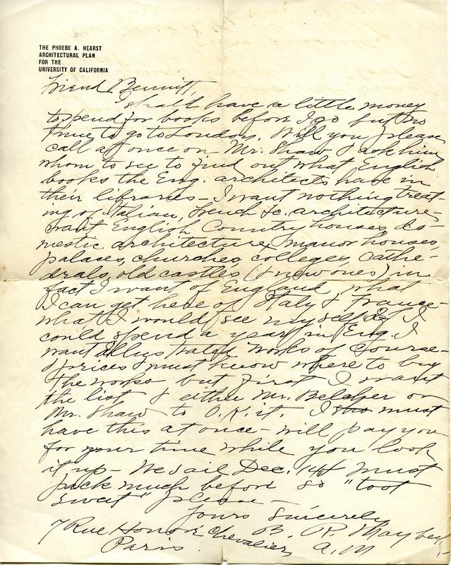 Bernard R. Maybeck to Edward H. Bennett Correspondence