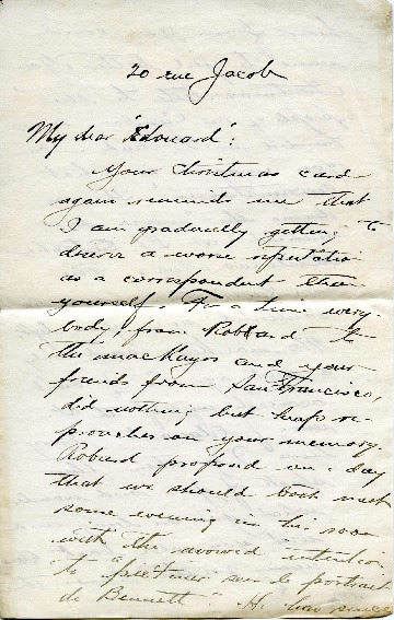 Peirce Anderson to Edward H. Bennett Correspondence